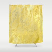 gold foil Shower Curtains featuring Gold Foil by Sweet Karalina