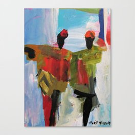 People Figure the World Abstract Art Contemporary Blue Red Green Black Sky Canvas Print