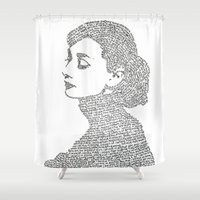 audrey hepburn Shower Curtains featuring Audrey Hepburn by S. L. Fina