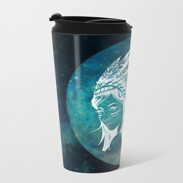Moon Child Goddess Bohemian Girl Metal Travel Mug