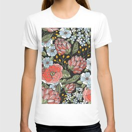 Retro Vintage Floral Arrangement On Black Background T-shirt