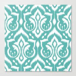 Ikat Damask Aqua Canvas Print