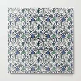 blue and green boho feather pattern Metal Print