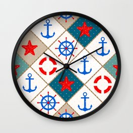 Nautical pattern . 1 Wall Clock