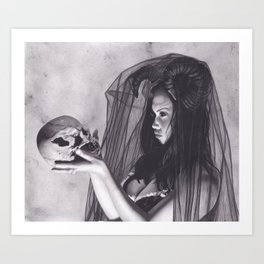 Realism Charcoal Drawing of Sexy Dark Queen in Veil with Skull Art Print