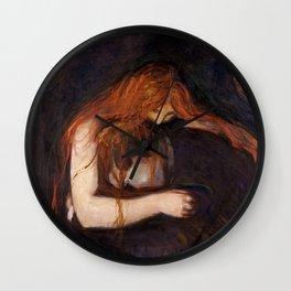 Vampire by Edvard Munch Wall Clock