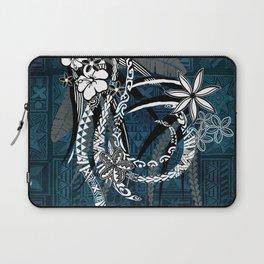 Polynesian - Hawaiian - Samoan Ocean Blue Tribal Tapa Artboard Laptop Sleeve