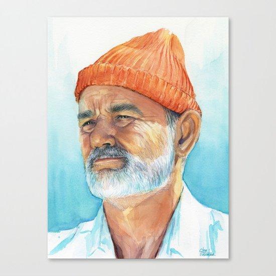 Steve Zissou Art Life Aquatic Bill Murray Watercolor Portrait Canvas Print