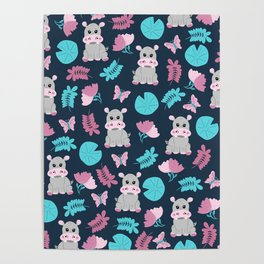 Cute Pink Teal Hippo Floral Butterfly Lily Pad Poster