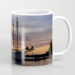 Schooner at sun rise Coffee Mug
