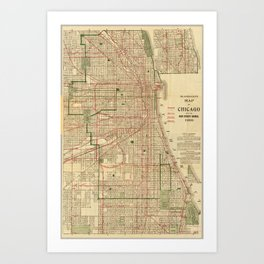 Vintage Map of The Chicago Railroads (1906) Art Print