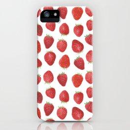 Strawberries watercolor iPhone Case