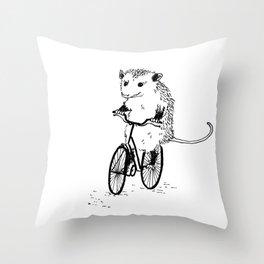 Opossums bike, too Throw Pillow