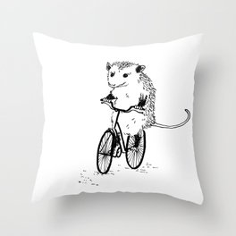 Opossums bike, too Throw Pillow