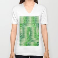 las vegas V-neck T-shirts featuring Las Vegas Street Signs by Gravityx9