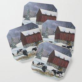 Holstein Dairy Cows in Snowy Barnyard; Winter Farm Scene Coaster