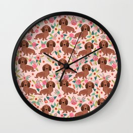 Long Haired Dachshund red coat pet friendly must have gifts for home dog lover Wall Clock