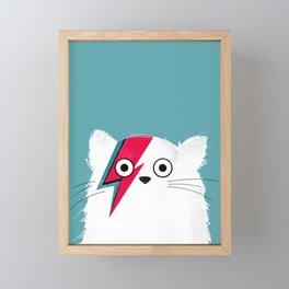 Cat Hero White Framed Mini Art Print