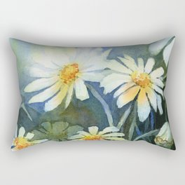 Daisies Watercolor Abstract Flowers Rectangular Pillow