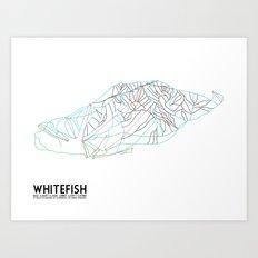 Whitefish, MT - Minimalist Trail Art Art Print