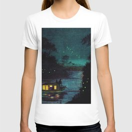 Fireflies at Ochanomizu along the River by Kobayashi Kiyochika T-shirt