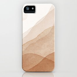 Mid Century Magic Minimal Landscape Watercolor Painting Tan Neutral Tones Mountain With Sun Bohemian Earthy Style iPhone Case