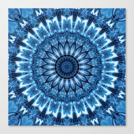Mandala cool blue Canvas Print