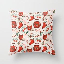 Christmas Santa Socks Throw Pillow