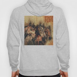 Galloping Wild Mustang Horses Hoody