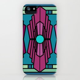 Art Deco Royal Ruby Stained Glass Pattern iPhone Case