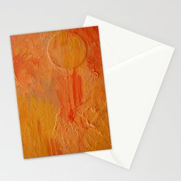 Orange Abstract Painting Stationery Cards