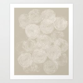 Radial Block Print in Tan Art Print