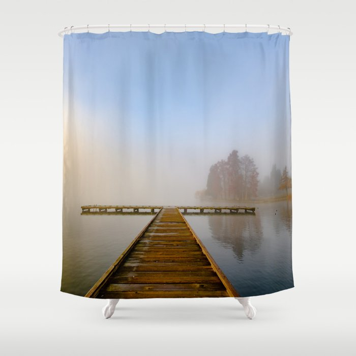 Morning Fog At Green Lake Seattle Shower Curtain By Bentilden