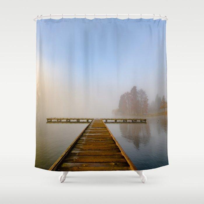 Morning Fog At Green Lake Seattle Shower Curtain