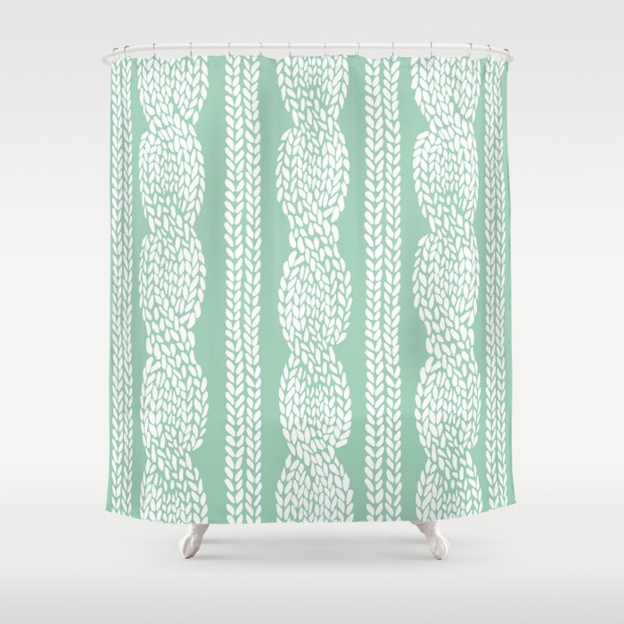 Cable Mint Shower Curtain