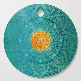 """Turquoise and Gold Mandala"" Cutting Board"