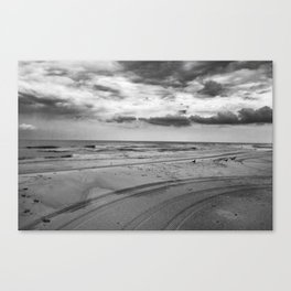 Driving on Assateague Island (Black and White) Canvas Print