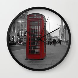 Red Phone Box Wall Clock