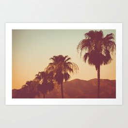 Row of Palm Trees At Sunset inPalm Springs, California Art Print