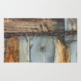 Weathered - Old Barn Wood & Rusted Chain Mormon Row Cabins Closeup Rug
