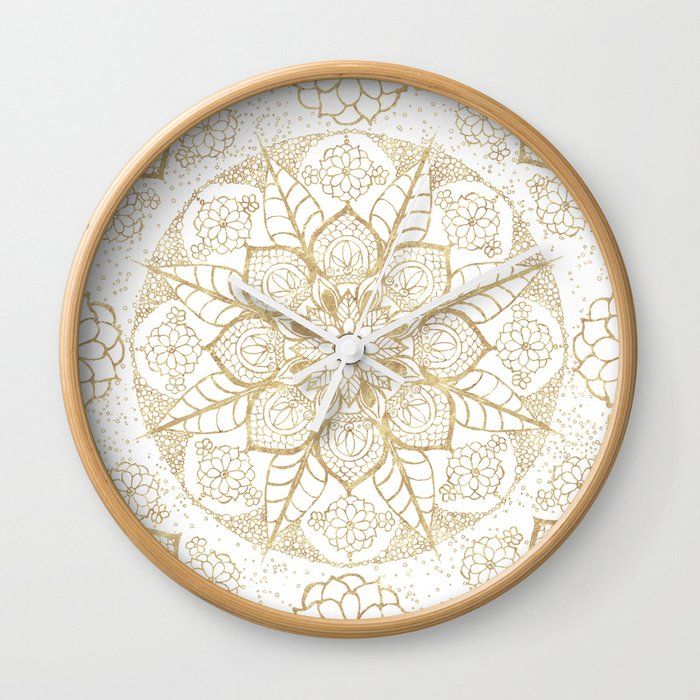 How to decorate your boho style living room. Stylish boho hand drawn golden mandala Wall Clock. Boho clock.