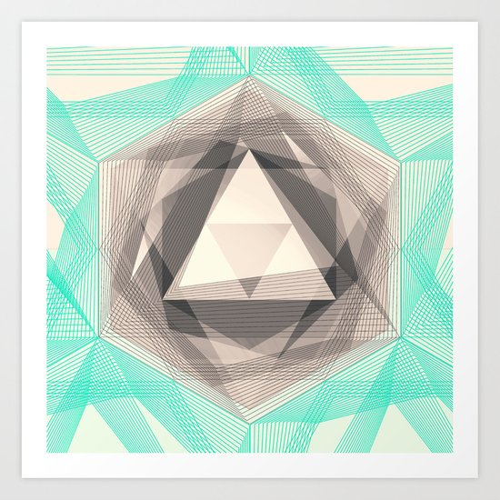 Jewel Lines 2 - Jade & Charcoal Art Print