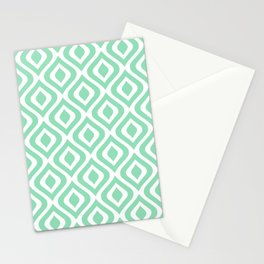 Mid Century Modern Diamond Ogee Pattern 138 Mint Green Stationery Cards