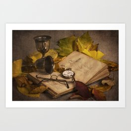 Memories in Autumn - old book glasses and watch still life Art Print