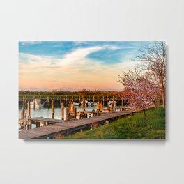 Spring sunset in the lagoon of Grado Metal Print