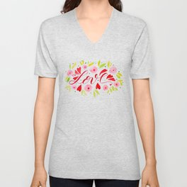 Love and roses - pink and red Unisex V-Neck
