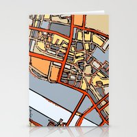 boston map Stationery Cards featuring Abstract Map- Boston Chinatown by Carland Cartography