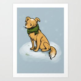 winter pup Art Print