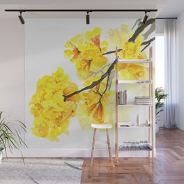 yellow trumpet trees watercolor yellow roble flowers yellow Tabebuia Wall Mural