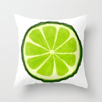 lime Throw Pillows featuring Lime by Linde Townsend
